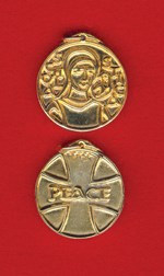 St. Scholastica Gold-Plated Over Pewter Medal