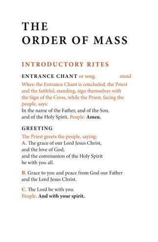 Order of Mass Hymnal Insert