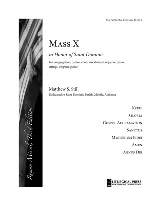 Mass in Honor of Saint Dominic, Instrumental Edition