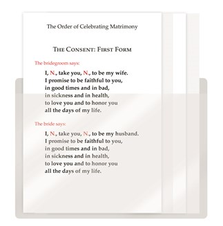 The Order of Celebrating Matrimony Couple's Consent Cards - Bilingual, with Pocket