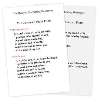 The Order of Celebrating Matrimony Couple's Consent Cards - English