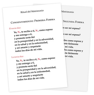 The Order of Celebrating Matrimony Couple's Consent Cards - Spanish