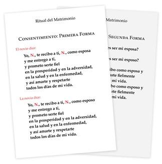 The Order of Celebrating Matrimony Couple's Consent Cards - Spanish